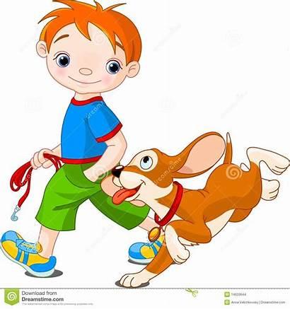 Walking Dog Clipart Clip Boy Children Walk