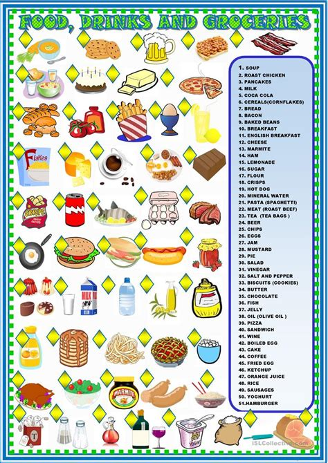 food matching worksheets food