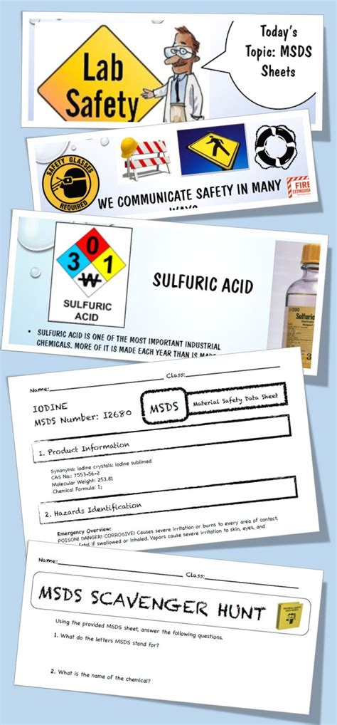 Msds Lab Safety Activity, Powerpoint, Worksheet, Junior High 5th 6th 7th 8th  Lab Safety