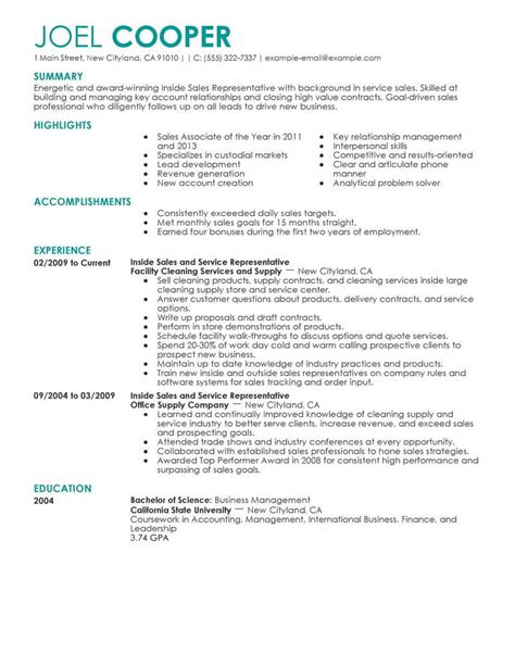 Great Cv Sles by Best Inside Sales Resume Exle Livecareer