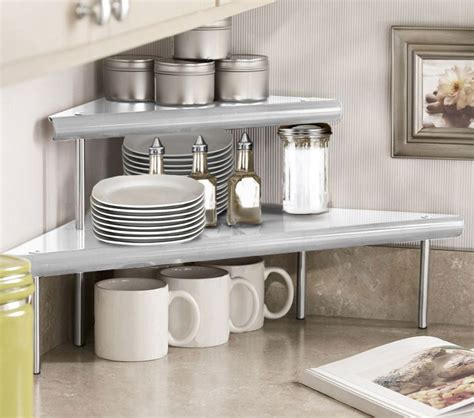 countertop corner shelf marimac 2 tier kitchen counter corner shelf in satin