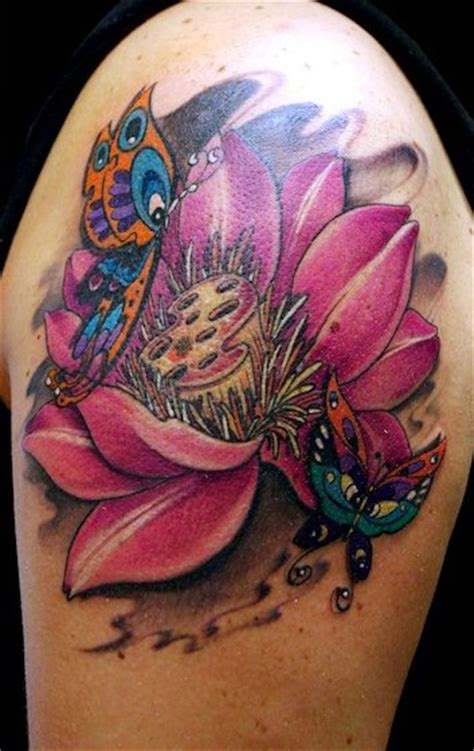 fiori di loto tatto artist fiore di loto new school color