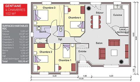 plan maison 90m2 3 chambres modèle et plans gentiane 3ch 90 4ch 102 du constructeur