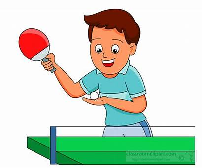 Tennis Ping Pong Table Playing Clipart Boy