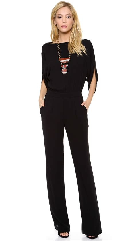 black jumpsuit for wedding diane furstenberg margot crepe wrap jumpsuit in black