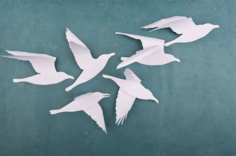 white 3d bird flock a flock of handmade paper seagull flickr