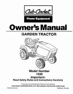 Cub Cadet Lawn Mower 1535 User Guide