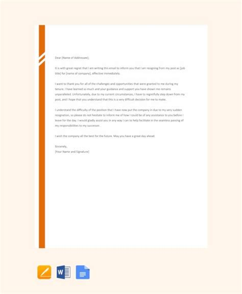 resignation letters  notice  word