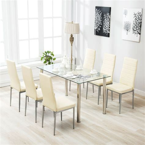 piece dining table set   chairs clear glass metal