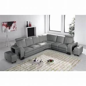 Canape d39angle en cuir gris avec appuie tete relax havane for Tapis enfant avec appui tete canapé