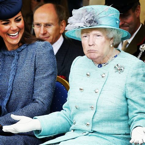 gracioso photoshop de donald trump  la reina isabel
