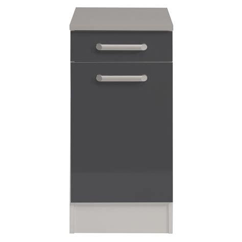 meuble bas cuisine 40 cm meuble bas 1 tiroir 1 porte 40 cm quot shiny quot gris