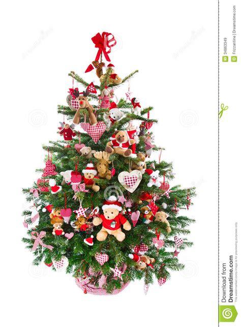 Weihnachtsbaum Bunt Geschmückt by Bunt Verzierter Lokalisierter Weihnachtsbaum Mit Roter