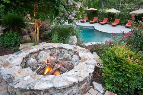 wood burning pit landscape traditional with backyard