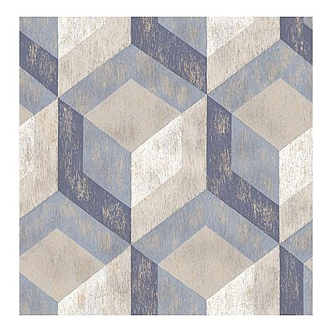 wood print tile a street prints rustic wood tile wallpaper in blue bed bath beyond