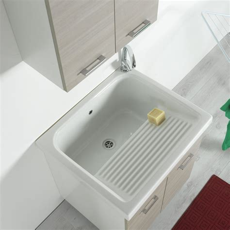 vasca da bagno ceramica mobile lavatoio 75x65 con vasca in ceramica bianco