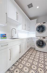 laundry room flooring 24 Ways to Use Patterned Tile in Neutral Spaces | Table and Hearth