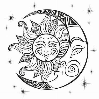 Moon Sun Coloring Symbol Boho Ancient Mystical