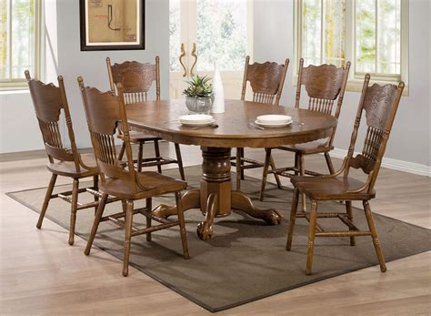 brooks oak finish roundoval dining table  single