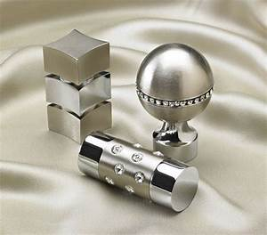 Swarovski satin nickel chrome finials curtain rods for Modern curtain rods and finials