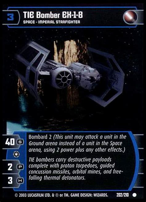 Maybe you would like to learn more about one of these? TIE Bomber EX-1-8 Card - Star Wars Trading Card Game