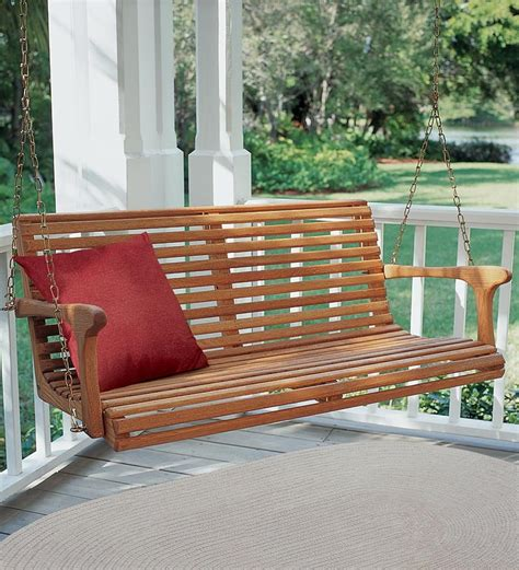 white porch swing white oak porch swing benches chairs plow hearth