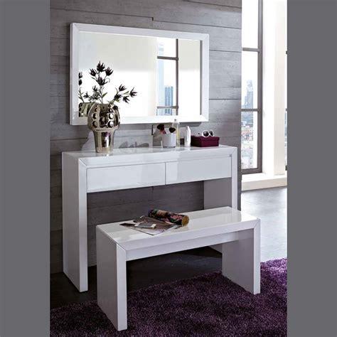 coffre rangement chambre meuble d 39 entre design coiffeuse blanc laqu miroir et banc