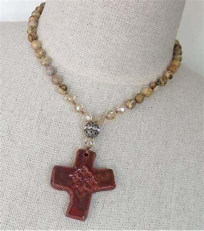 Handmade Necklace Boho Cross Southwestern Jewelry Beaded