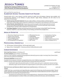 Elementary Resume Skills by Substitute Resume Exle 5 Free Word Pdf Documents Free Premium Templates