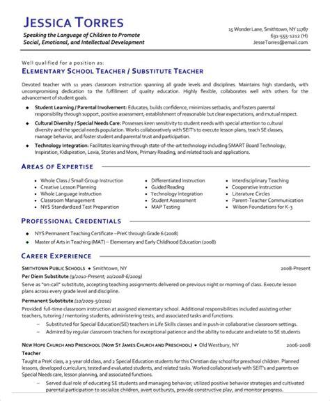 9 substitute resume templates pdf doc free