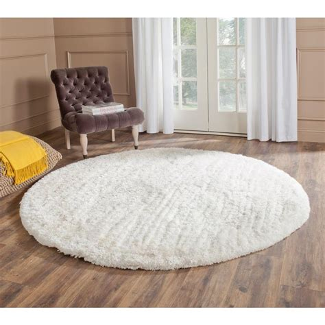 White Area Rug by Safavieh South Shag Snow White 6 Ft X 6 Ft