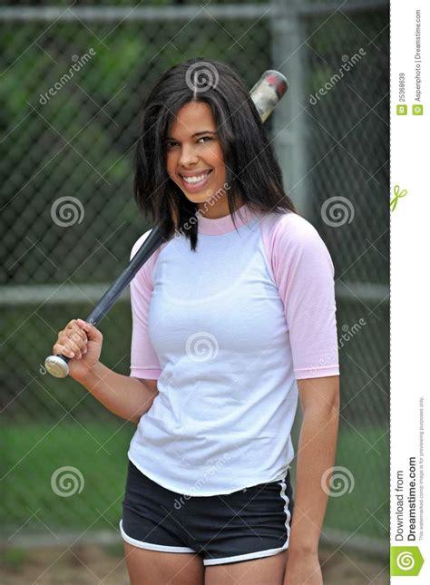 beautiful biracial young female softball player royalty