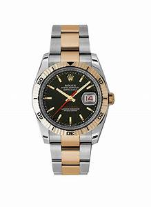 116261 Used Black Stick Rolex Datejust 36mm 2 Tone Ss  Rg With Oyster    Turn O Graph
