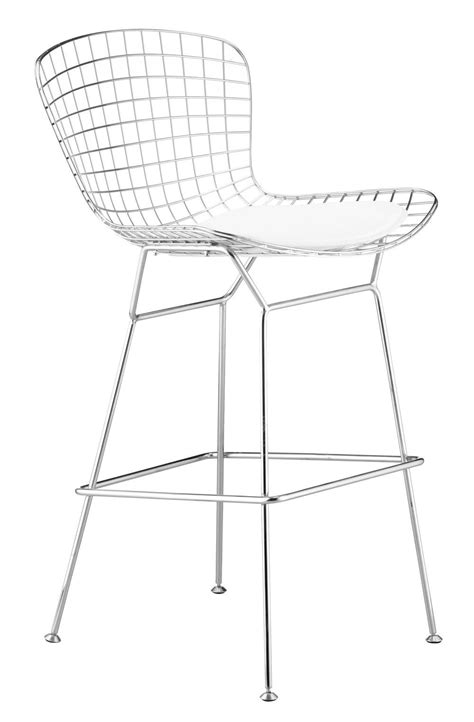 mesh bar stools steel wire mesh bar chair with black or white leather 4083
