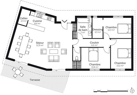 plan maison 3 chambre plain pied plan maison en v avec 3 chambres ooreka