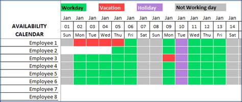 availability calendar template team vacation planner excel template plan staff leave ensure coverage