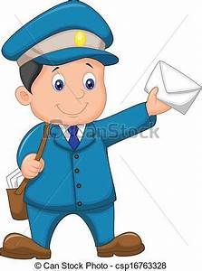 Vector illustration of mail carrier cartoon with bag and ...