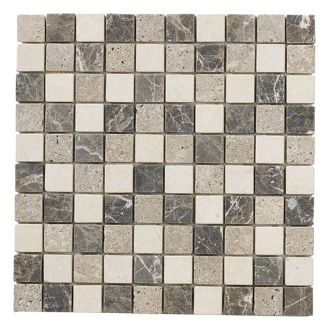 Jeffrey Court Mosaic Tile by Jeffrey Court Emperador Mix 12 In X 12 In X 8 Mm Marble