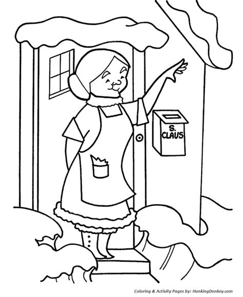 santa going down chimney coloring sheets