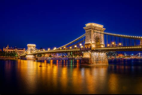 Chain Bridge Budapest Hungary Hdr Farbspiel Photography