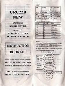Urc22b Universal Remote Control  Instruction Booklet