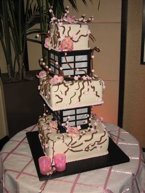 cherry blossom lantern wedding cake lights