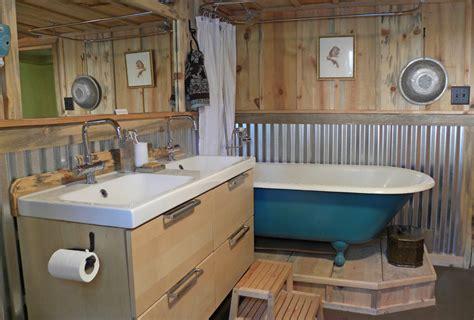 gray farmhouse table corrugated metal wainscoting bathroom craftsman with barn