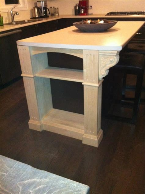 kitchen island with corbels basketweave carved corbels accent kitchen remodel