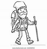 Cartoon Hiking Backpack Stick Traveler Hiker Illustration Drawn Outline Vector Experienced Hand Bag Shutterstock Vectors Royalty sketch template