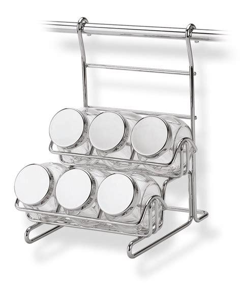 portaspezie acciaio portaspezie con 6 vasetti appicabile alla barra da cucina