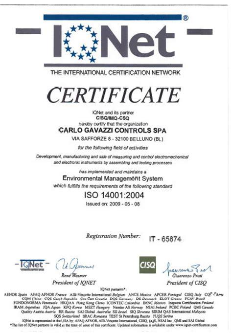 actions bureau veritas carlo gavazzi certified to iso 14001 2004