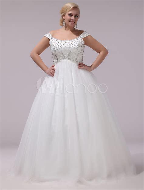 plus size wedding dress tulle rhinestones beading bridal gown the shoulder sleeveless a line