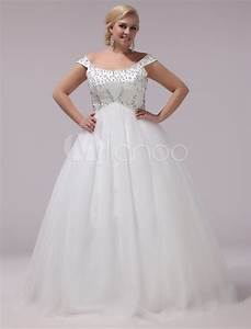 plus size wedding dresses tulle rhinestones beading bridal With robe chic grande taille