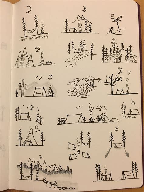 camping doodle   doodle art journals bullet